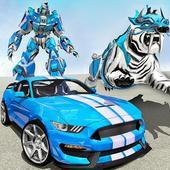 US Police Transform Robot Car White Tiger Game icon