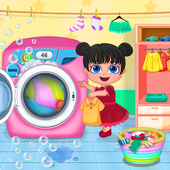 Mom Baby Clothes Washing Laundry icon