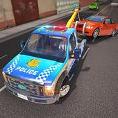 Police Tow Truck Driving Car Transporter icon