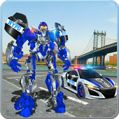 US Police Car Real Robot Transform: Robot Car Game icon