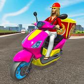 Moto Bike Delivery Pizza Girl 2021 icon