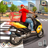Delivery Pizza Boy Driving Simulator New Bike Game icon